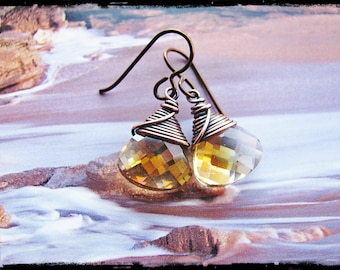 Wire Wrapped Lemon Yellow Crystal Briolettes