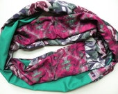 Infinity scarf: women's silk woven fashion circle loop, tribal deep pink teal blue green purple floral India Bohemian hipster Lhasa i363