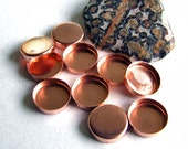 Bezel Cups - 10 mm Round Solid Copper, Plain Wall - Quantity 10 - Jewelry or Craft Supply