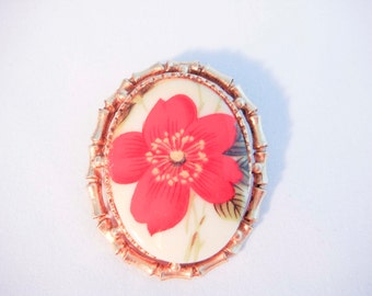 Gold Cameo Brooch with Red Flower Ceramic Antique Vintage