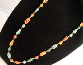 "36"" Semi Precious Stones Necklace Vintage Antique"