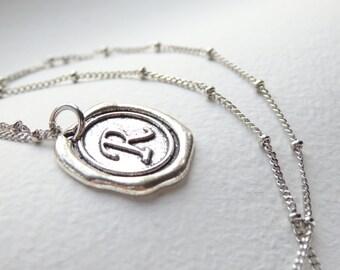 Antique Silver Wax Seal - R - Monogram Necklace