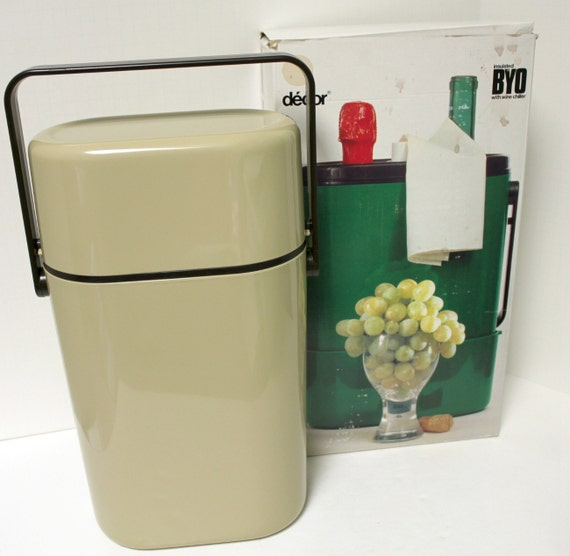 vintage decor byo wine chiller insulated cooler carrier in box