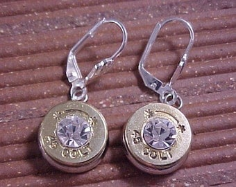 Bullet Earrings 45 Colt Brass Shell Clear Swarovski Crystal - Free Shipping to USA