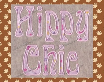 Hippy Chic Applique Embroidery Font
