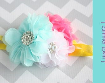 baby Headband { Summer Lovin } yellow, neon pink and aqua first birthday, spring, summer easter, cake smash photography prop