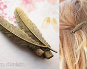Antique Bronze Feather Hair Clips - Bronze, Gold, Wedding, Bride, Bridesmaid, Barrette, Hair Accessory, Gift