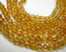 Citrine Gemstones. Faceted  Rondelles,  4mm. Semi Precious Gemstone Beads. Your Choice Strand. (act1)