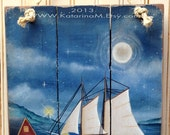 Hand Painted Wall Decor Moonlit Cove Recycled wood Sign Coastal Nautical
