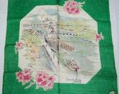 Vintage Souvenir Handkerchief-Seattle Canal Locks 1960s