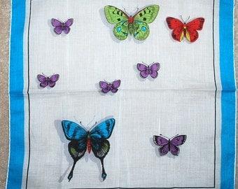 Vintage 1960s  Butterflies Handkerchief-FAB