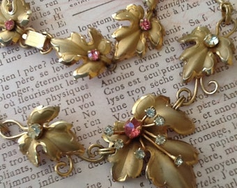 Vintage Pink Rhinestone Leaf  Demi Parure Necklace Bracelet Clip Earring 1950s cottage chic SALE