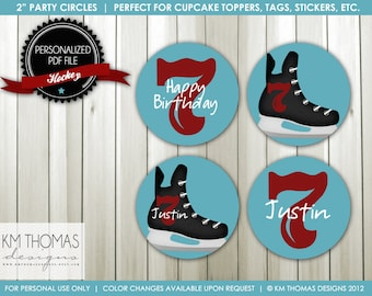 Printable Hockey Cupcake Toppers : Ice Hockey Party Circles - Hockey Birthday Party Decorations - Personalized Ice Skate Favor Tags - BD114