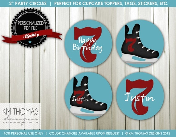 Printable Hockey Cupcake Toppers : Ice Hockey Party Circles