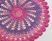 """Crochet Doily - Hand Dyed Upcycled Home Table Top Decor - Magenta Pink Purple Mauve Rose Lavender 14"""""""