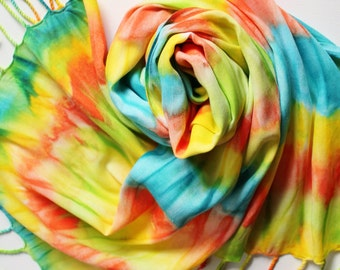 Hand Painted Fringed Scarf - Hand Dyed Scarves Fringe Orange Yellow Turquoise Blue Lime Green Bright Tropical Rainbow