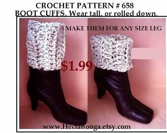 Crochet Boot Cuffs, tall or rolled down, CROCHET PATTERN, girls, teens, women, make any size, beginner pattern, legwarmers, boot socks, #658