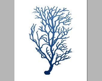 Coral Botanical - 8x10 Sea Life Nautical Beach Silhouette Print - Shown in Ocean Blue, Turquoise, Mossy Green, Coral Red, and Emerald