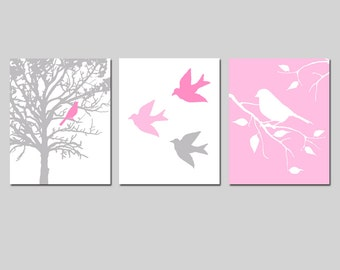 Baby Girl Nursery Art - Set of Three 8x10 Prints - Bird in a Tree, Nature, Branch - CHOOSE YOUR COLORS - Shown in Pale Gray, Pink, and More