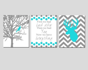 Baby Boy Nursery Art Trio - Set of Three 11x14 Prints - Bird in a Tree, First We Had Each Other Quote, Chevron Deer - CHOOSE YOUR COLORS