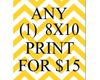 SALE - Any One 8x10 Inch Print for 15 Dollars - You Choose The Print and Colors - Limited Time Only