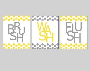 Kids Bathroom Wall Art Print Set of Three 8x10 Polka Dot Prints - Wash, Brush, Soak, Splish, Splash, Flush, Floss, Scrub  CHOOSE YOUR COLORS