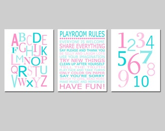 Playroom Rules Alphabet Numbers Set - Kids Wall Art Trio - Set of Three 8x10 Nursery Art Prints - CHOOSE YOUR COLORS