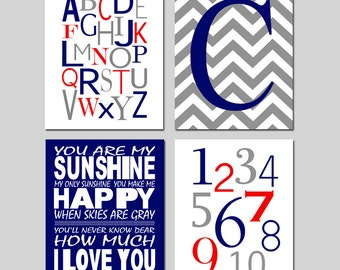 Navy Blue Red Gray Nursery Art Quad - You Are My Sunshine, Chevron Initial, Alphabet Numbers - Set of Four 11x14 Prints - CHOOSE YOUR COLORS