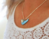 Porcelain Bluebird Sparrow Blue Ceramic Freshwater Pearl Silver Pastel PowderJewelry Necklace