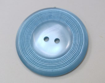 Lot of 2 large vintage 1950s sky blue plastic buttons for your sewing prodjects
