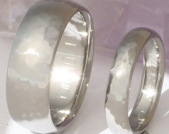 Titanium Hammered Wedding Band Set - Matching His and Hers Rings - n22