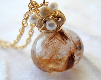 Rutilated Quartz Necklace Gold Wire Wrapped Freshwater Pearl Faceted Fall Fashion Autumn Jewelry