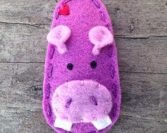 Felt Hair Clip Hippo, Animal Series, Girls Hair Clips, Baby Hair Clip, Purple Hair Clip, Wool Felt Hair Clip