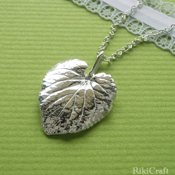 Sweet Violet Leaf - Pure Silver Pendant, Herb Jewelry