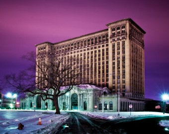 "Detroit landscape, Michigan Central Train Station. Abandoned Building, Surreal Fine Art ""Still as Ice"""