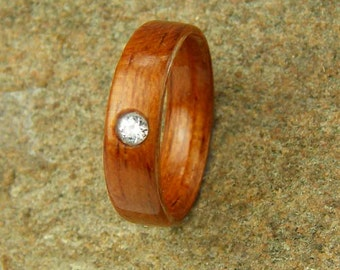 Bentwood Ring Brazilian Cherry  with 3mm inset Cubic Zirconia