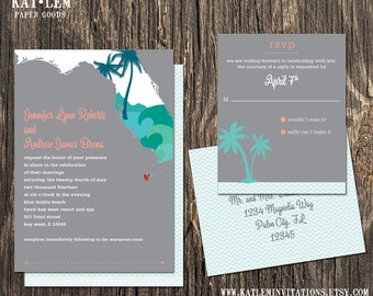Florida Wedding Invitation Set - Florida State Destination Wedding
