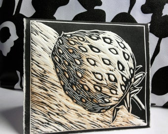 Hand-carved strawberry lino-cut card