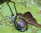 Fairytale Grotto Locket Charm Necklace Fire Opal Steampunk Wings Mixed Metals