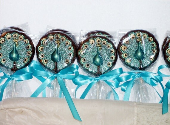10 Chocolate Peacock lollipops  for weddings, bridal showers