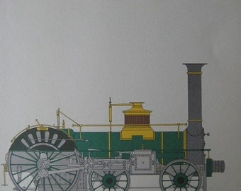 Vintage Print of Old Train Engines