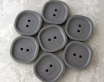 Grey Vintage Coat Buttons 27mm - 1 1/16 inch Slate Titanium Gray Plastic Buttons - 7 VTG NOS Retro Mod Rounded Square Sewing Button PL123 bb