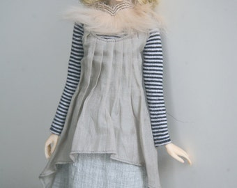 jiajiadoll- grey 2 way dress fit momoko or misaki or blythe pullip