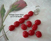 36 Petite Vintage Glass Beads Strawberry Red Czech Lentils