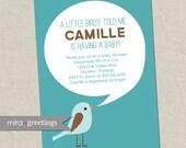 Bird Baby Shower Invitation - little birdy birdie shower invite - gender neutral shower  (Printable Digital File)