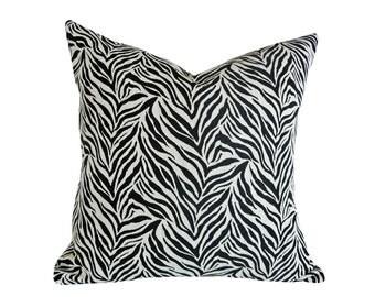 Zebra Pillows, 14x20 Exotic Lumbar Pillow, Luxury Animal Print  Cushion Cover,  Contemporary Designer Pillows