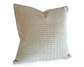 Taupe Chevron Pillow, Taupe Cream Pillow, PILLOW SALE, Decorative Throw Pillow, Neutral Cushions, 14x18 Lumbar Cushion Cover
