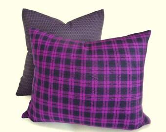 Purple Plaid Pillow, Plaid Throw Pillows, YEAR END SALE, Wool Tartan Pillow Covers, Purple Black Punk Plaid, Medium Violet, 14x18, 18x18