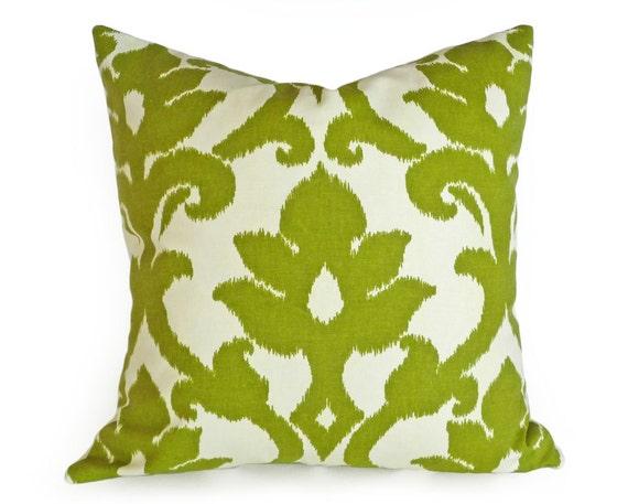 Green Ikat Throw Pillow : Green Ikat Pillow Cover Decorative Throw by PillowThrowDecor