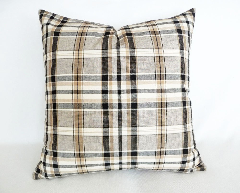 Tan Plaid Pillow Decorative Throw Pillow Brown By